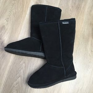 BEARPAW 'Emma' Tall Black Suede Fur Lined Boots 6